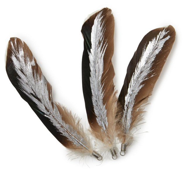 S/6 Iridescent Goose Feathers w/ Silver