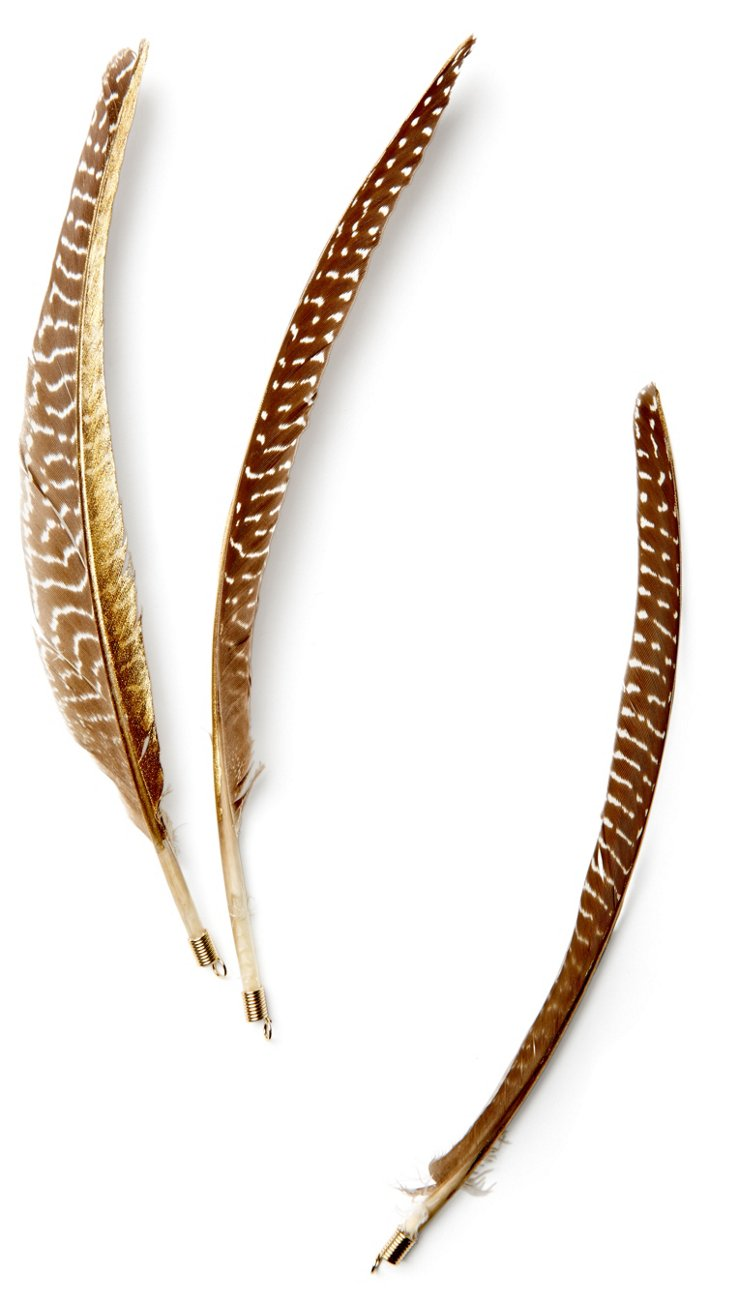 S/3 Guinea Feathers w/ Gold
