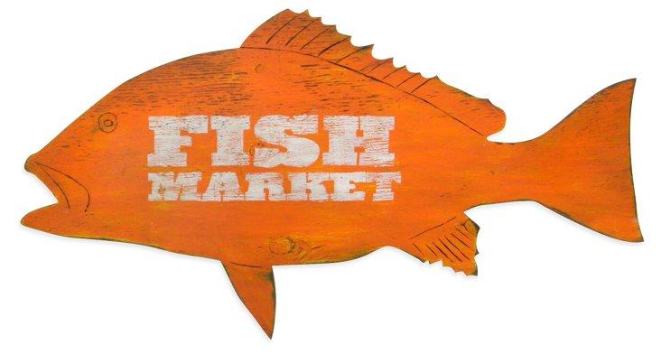 """Fish Market"" Wall Decor, Orange"