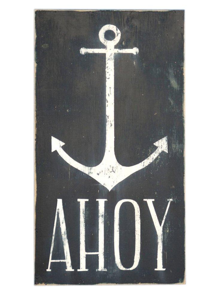 """Ahoy"" Wall Sign, Navy"
