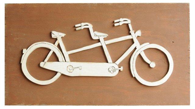 "41"" Tandem Bike Sign, Brown/Oyster White"