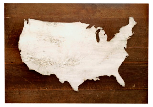 Wooden US Rustic Map, Natural