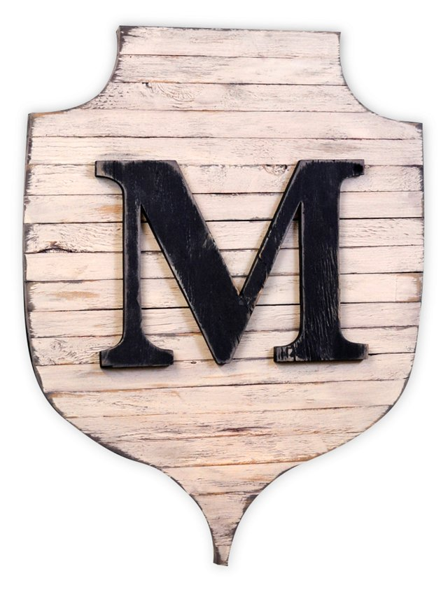 Rustic Monogram Shield, Cream/Black