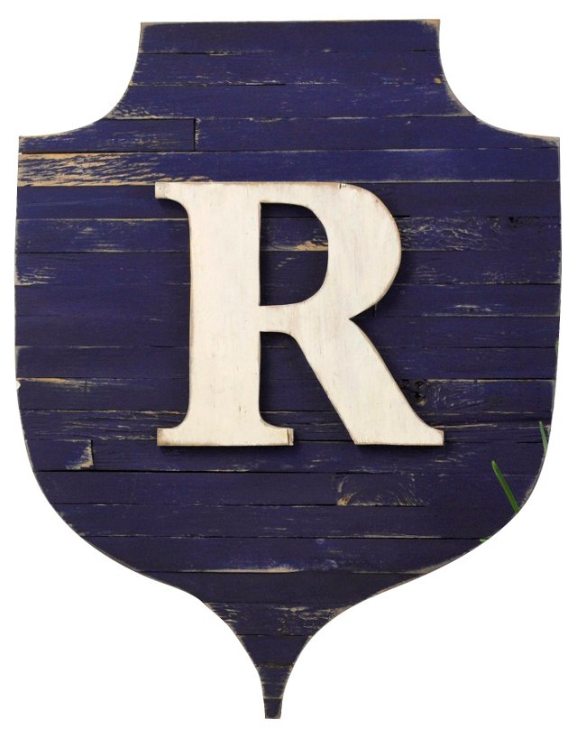 Rustic Monogram Shield, Navy