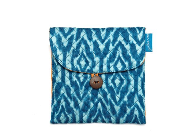 S/2 Small Jewelry Pouches, Blue Ikat