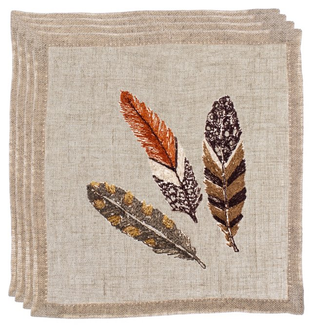 Brown Feather Cocktail Napkins, Set of 4