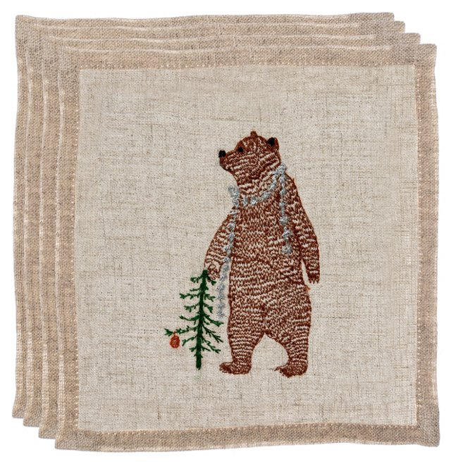 Bear w/ Tinsel Napkins, Set of 4