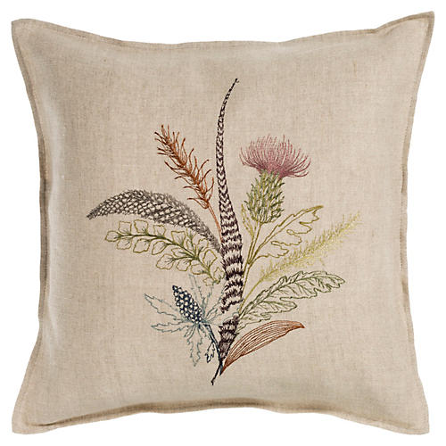 Thistle 16x16 Linen Pillow, Natural