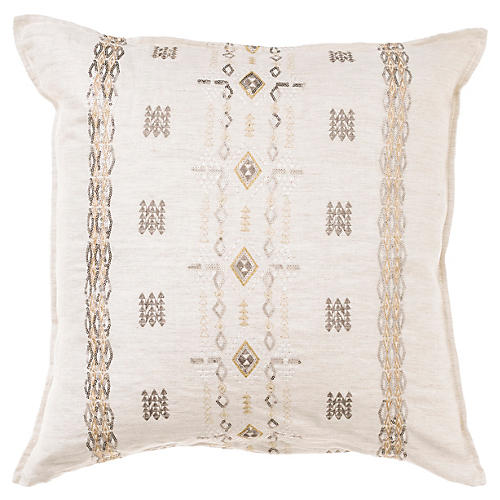 Berber Sequin 20x20 Pillow, Natural Linen