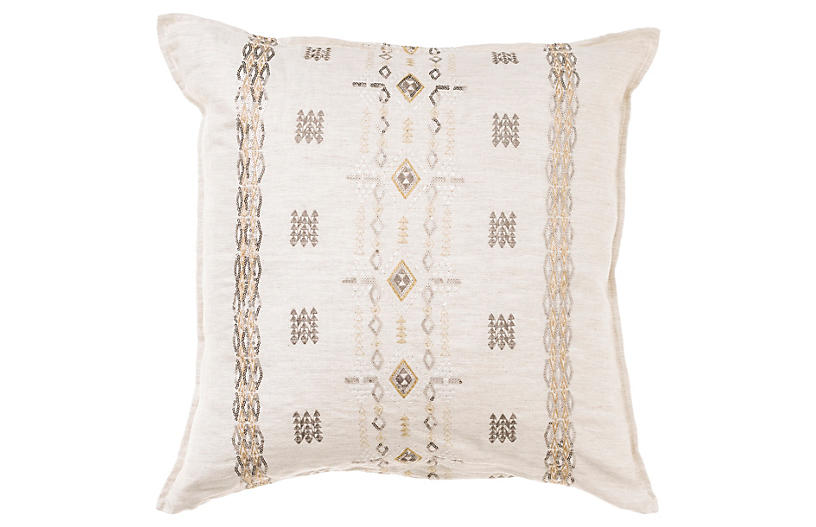 Berber Sequin 20x20 Pillow, Natural Linen