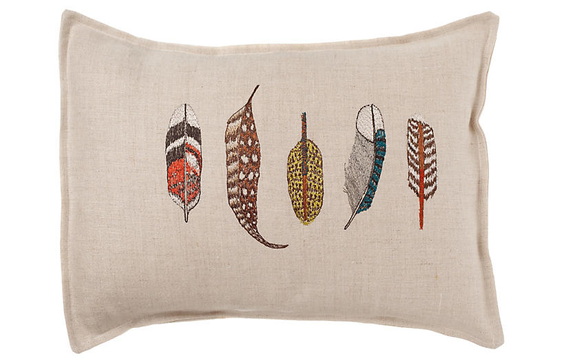 Small Feathers 12x16 Embroidered Pillow