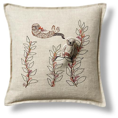 """Sea Otter 12""""x12"""" Linen Pillow"""