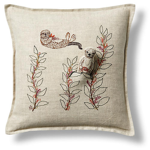 "Sea Otter 12""x12"" Linen Pillow"