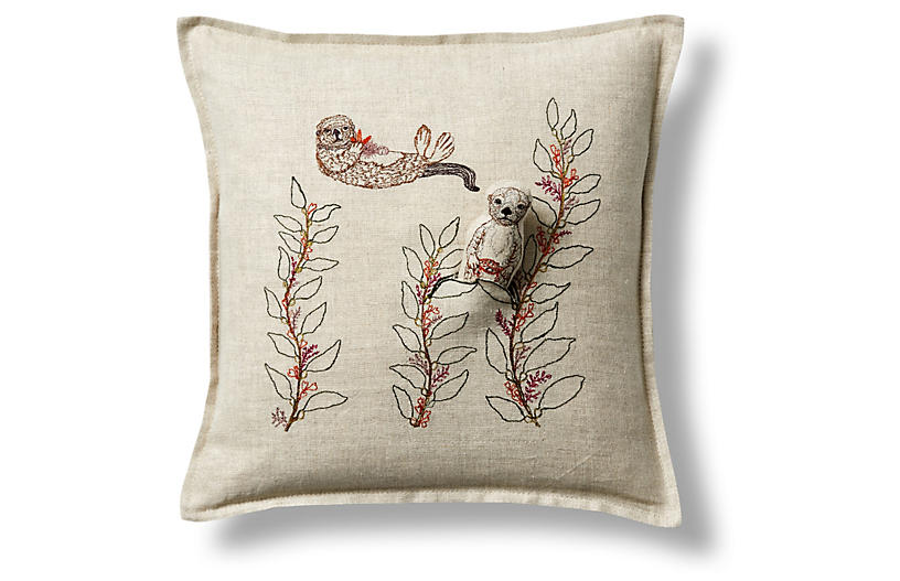 Sea Otter 12 X12 Linen Pillow