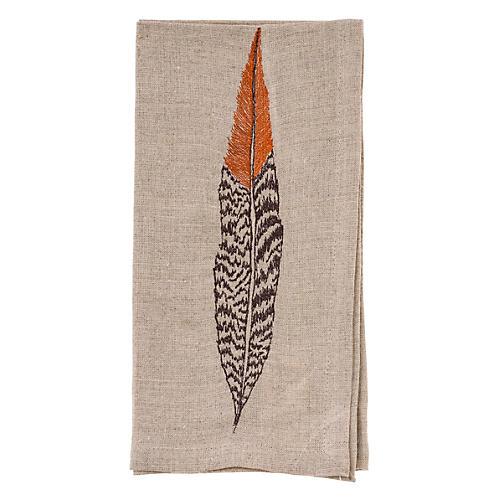 Pheasant Feather Dinner Napkin