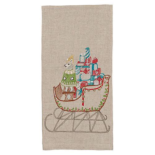 Santa's Sleigh Tea Towel