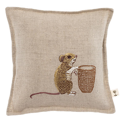 Mouse Tooth Fairy 7x7 Pillow, Natural Linen