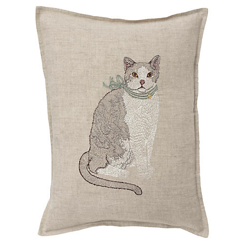 Fancy Cat 12x16 Pillow, Linen