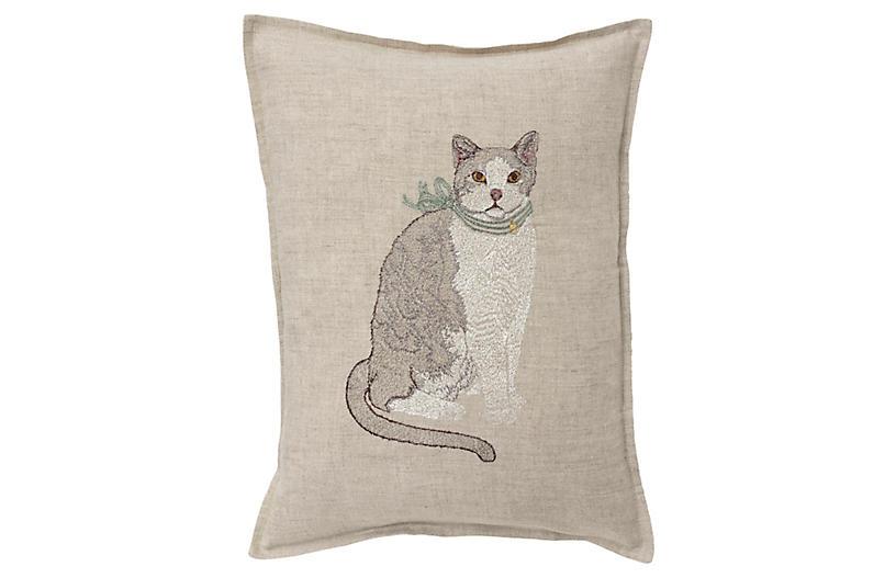 Fancy Cat 12x16 Pillow, Linen