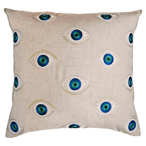 Evil Eye 20x20 Pillow, Linen
