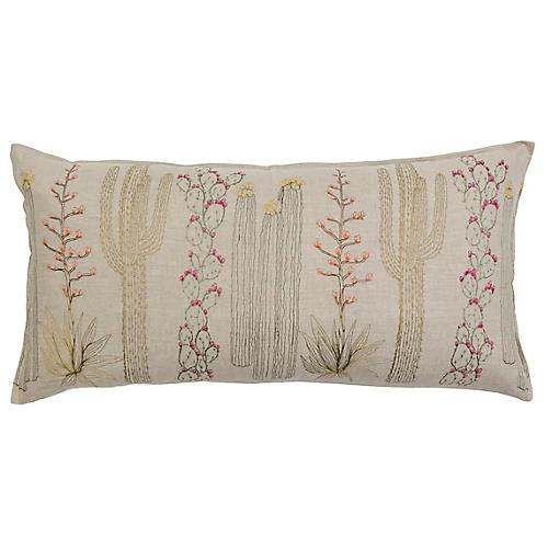 Cacti 16x32 Pillow, Natural Linen