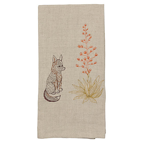 Coyote & Century Plant Tea Towel, Natural/Multi