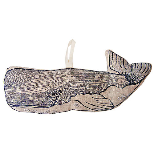 "8"" Whale Ornament, Blue/Natural"