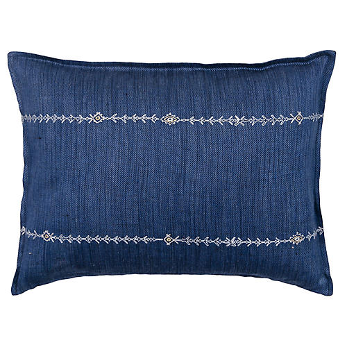 Stitch Stripe 12x16 Pillow, Indigo Linen