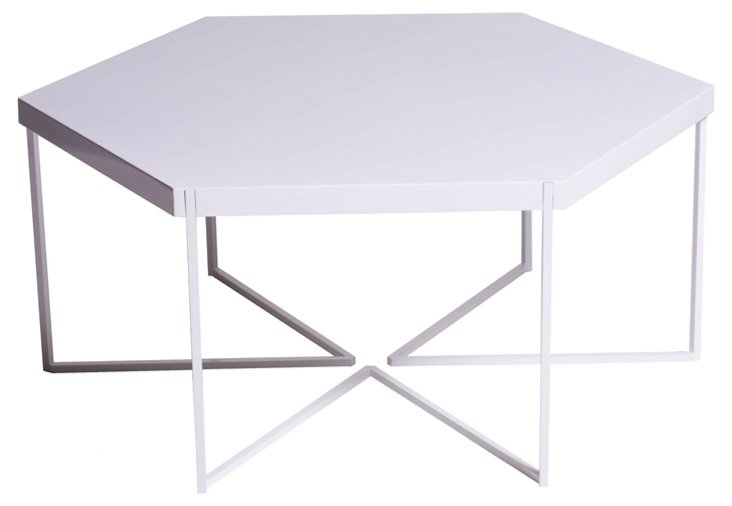 """Hex Coffee 42"""" Table, White"""