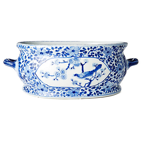 "22"" Garden Design Bowl, Blue/White"