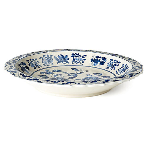 "16"" Floral Plate, Blue/White"