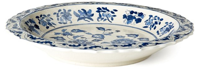 """16"""" Floral Plate, Blue/White"""