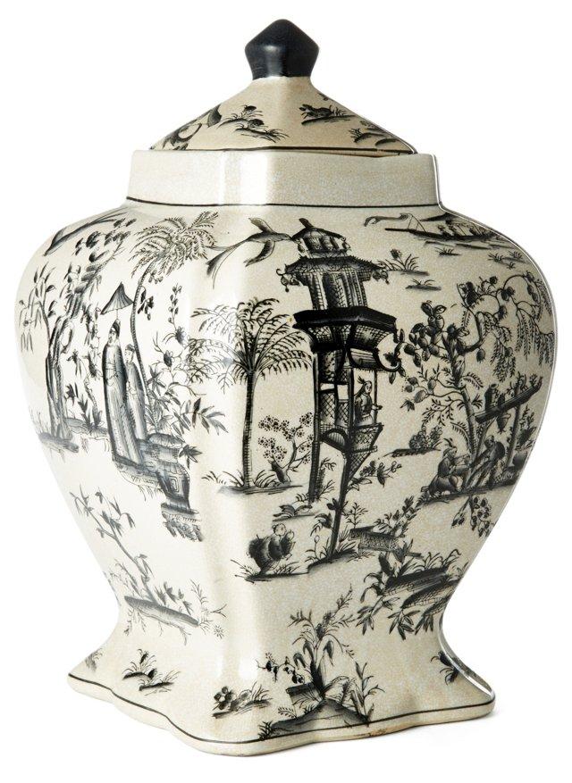 "15"" Toile Jar, Black/White"