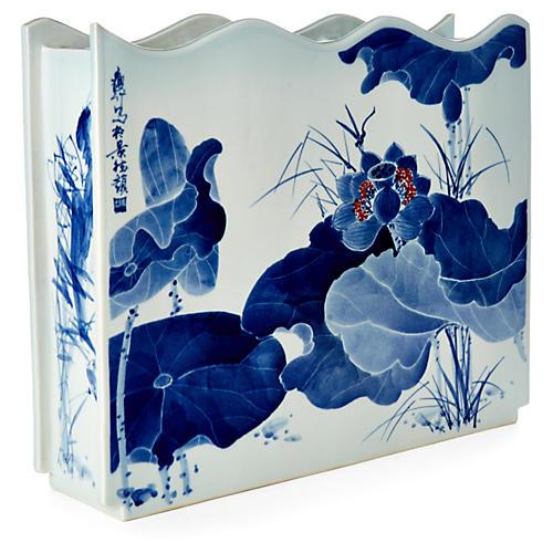 "18"" Lotus-Leaf Vase, Blue/White"
