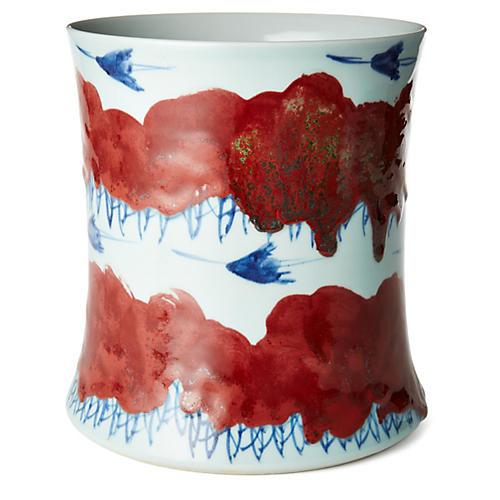 """10"""" Soaring Birds Vase, Red/Blue"""