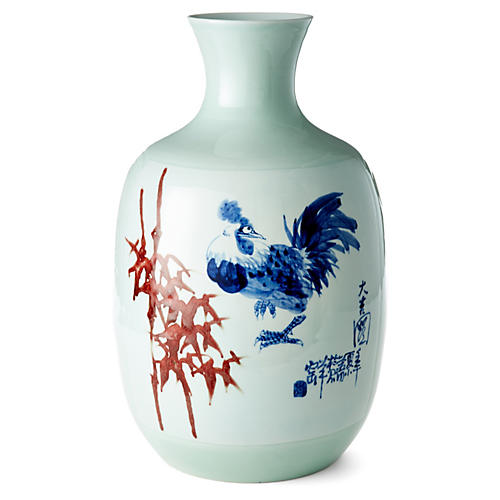 """19"""" Bamboo and Rooster Vase, Blue/Red"""