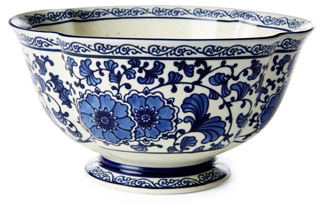 "9"" Floral Scallop Edge Bowl, Blue/White"