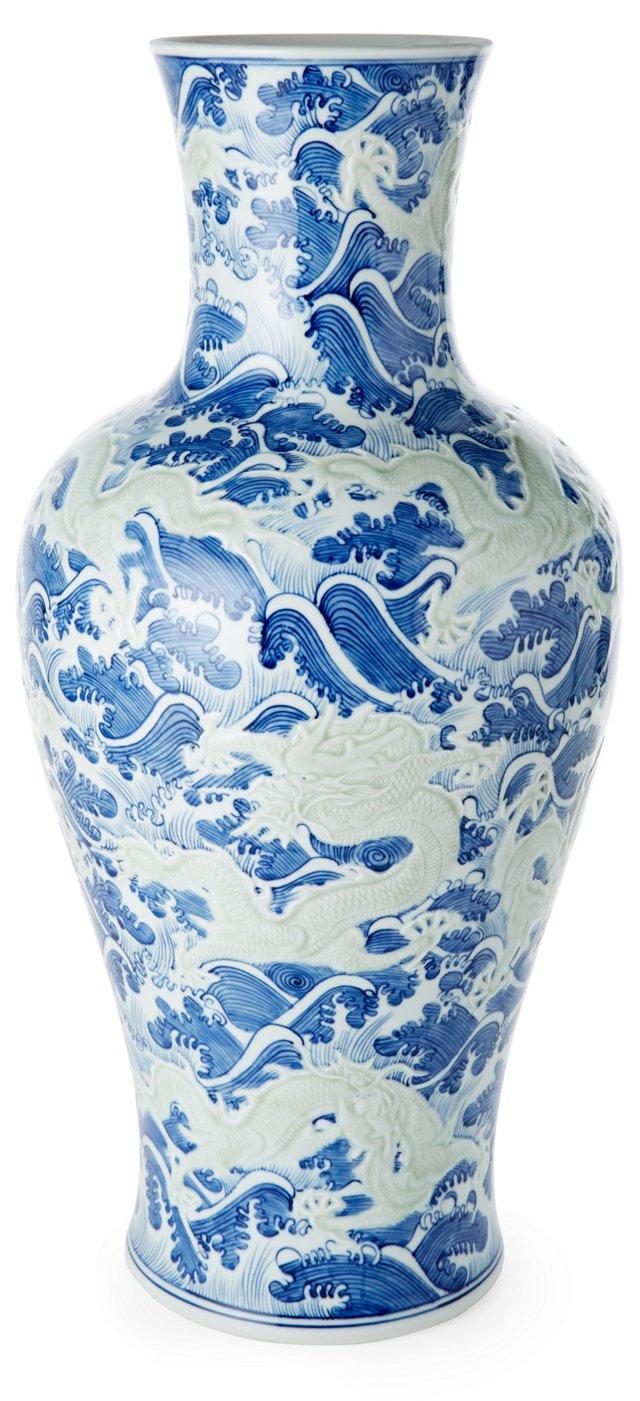 "24"" Small Dragon Vase, Blue"