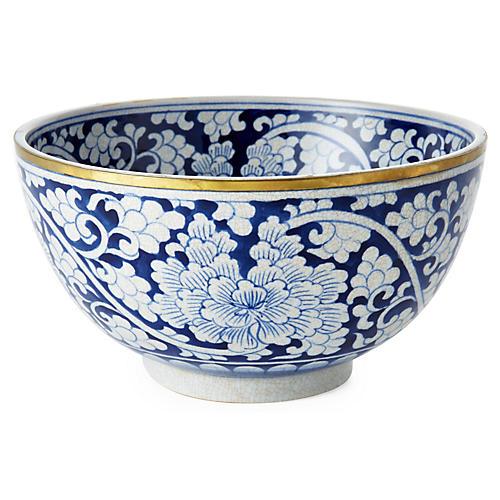 "9"" Floral Bowl, Blue/White"