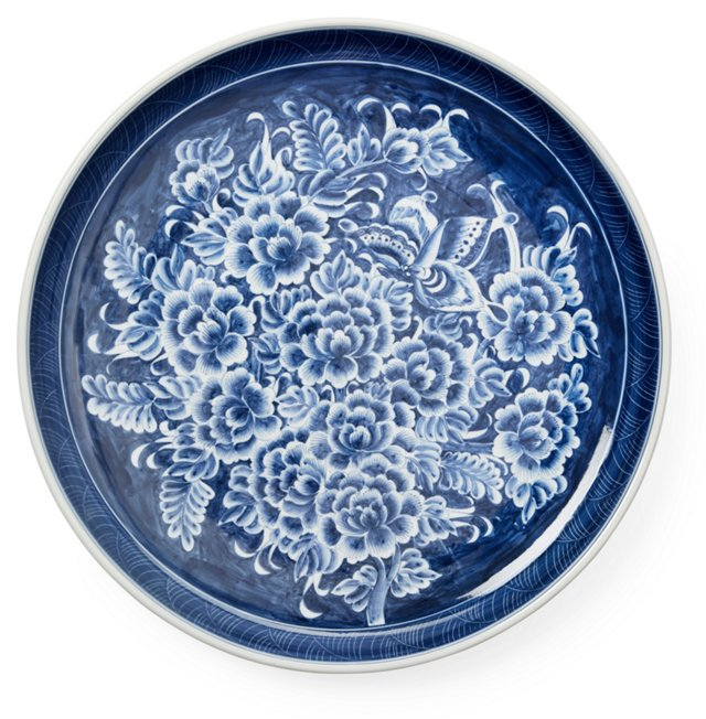 """16"""" Peony & Butterfly Plate, Blue/White"""