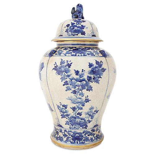 """25"""" Ginger Jar with Foo Dog Lid, Blue"""