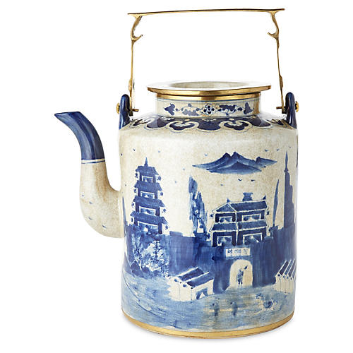 Large Great Wall Teapot, Blue/White