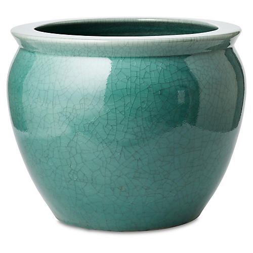 Fish Bowl Planter, Turquoise