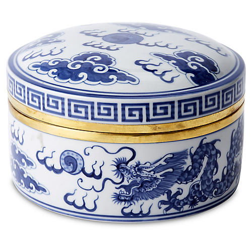 "6"" Porcelain Dragon Box, Blue/White"