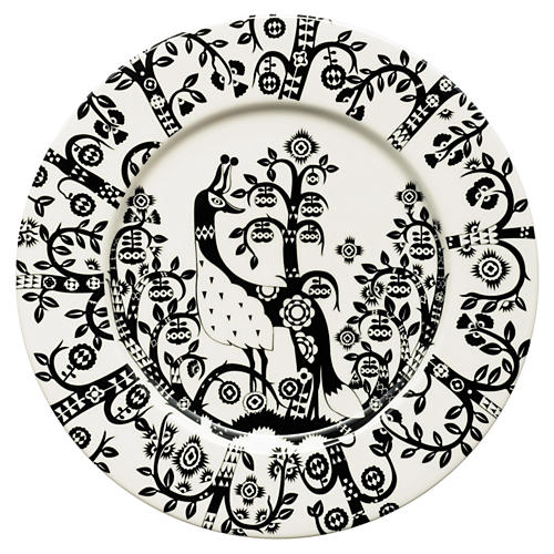 "Taika 8.75"" Salad Plate, White/Black"