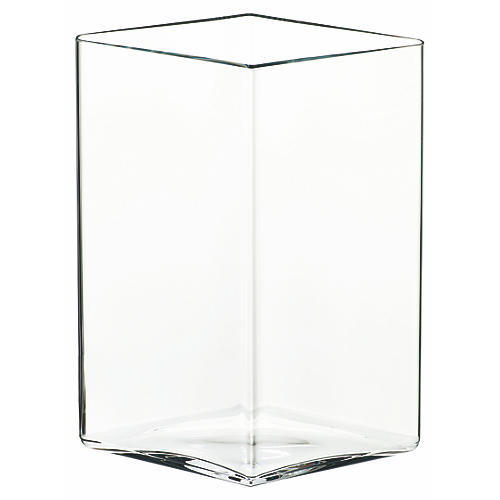 "7"" Ruutu Medium Vase, Clear"