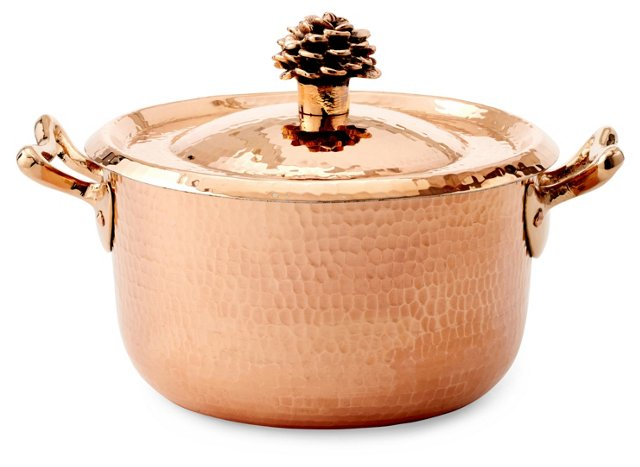 2.82 Qt Copper Saucepan w/ Flower Lid