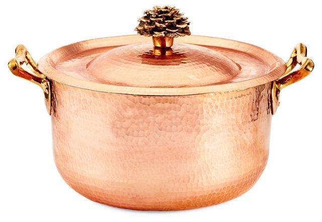 5.7 Qt Copper Saucepan w/ Flower Lid