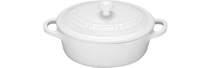 4 Qt Oval Casserole Dish, White