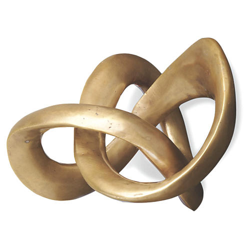 """9"""" Trefoil Knot Sculpture, Brass"""